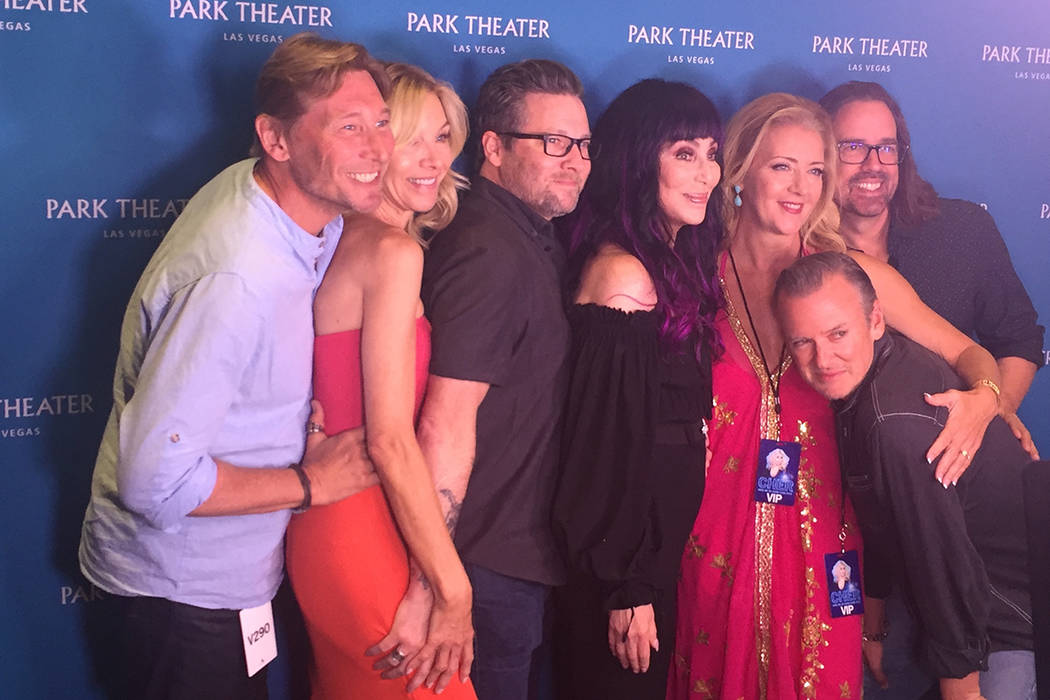 """Cher is shown with members of her 1989-1990 """"Heart of Stone"""" tour at Park Theater on Saturday, ..."""