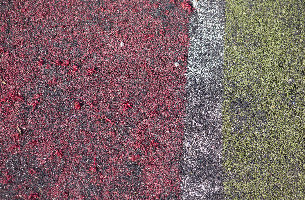 A view of the deteriorating turf at the football field at Valley High School in Las Vegas on We ...