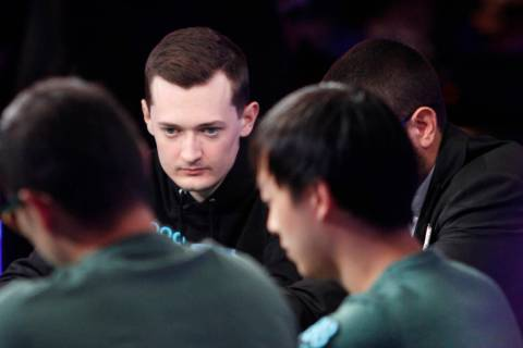 Nick Marchington at the main event final table during the World Series of Poker at the Rio hote ...