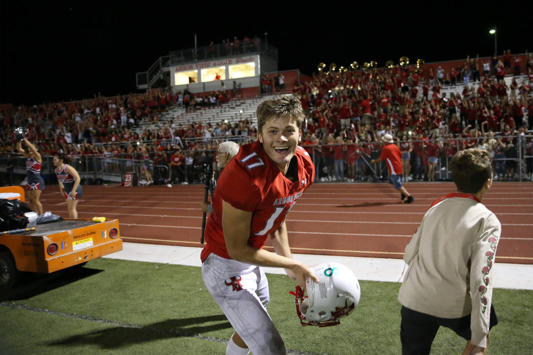 Arbor View's Kyle Holmes (17) reacts after defeating American Fork in the football game at Arbo ...