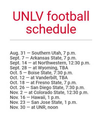 UNLV football schedule