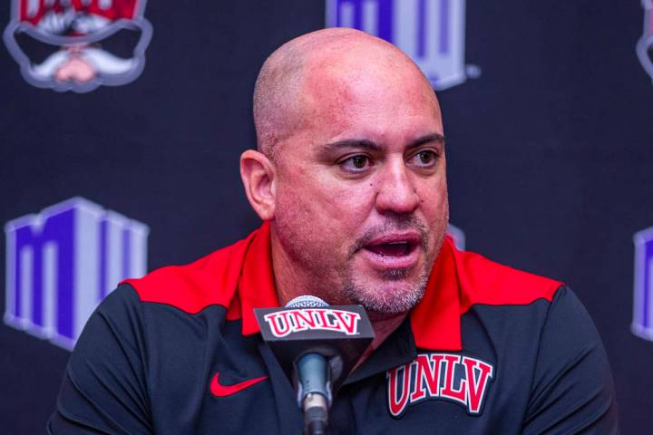 UNLV football head coach Tony Sanchez answers questions by media during a news conference on Mo ...