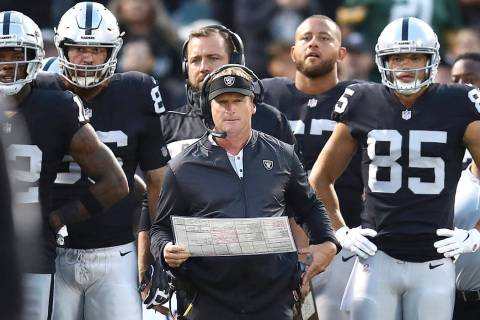 Oakland Raiders coach Jon Gruden, center, watches during the first half of the team's NFL prese ...