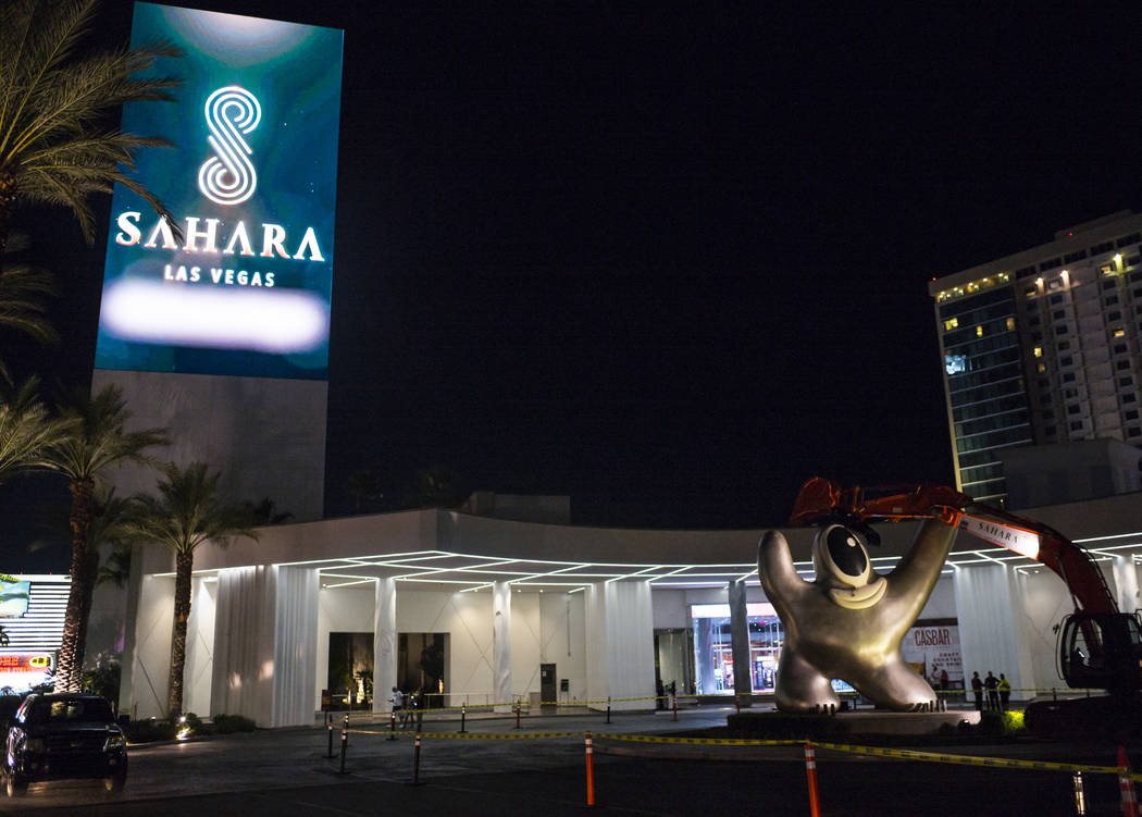 "The ""Sam by Starck"" statue, right, before being removed at the SLS Las Vegas ahead of the resor ..."
