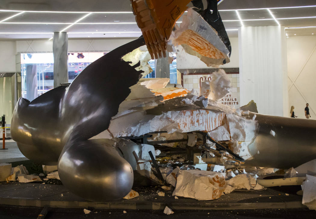 "The ""Sam by Starck"" statue at the SLS Las Vegas is demolished ahead of the resort's transition ..."