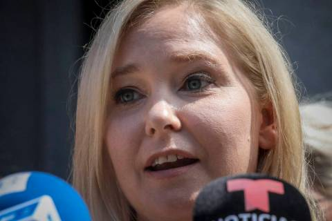 Virginia Roberts Giuffre, a sexual assault victim, speak during a press conference outside a Ma ...