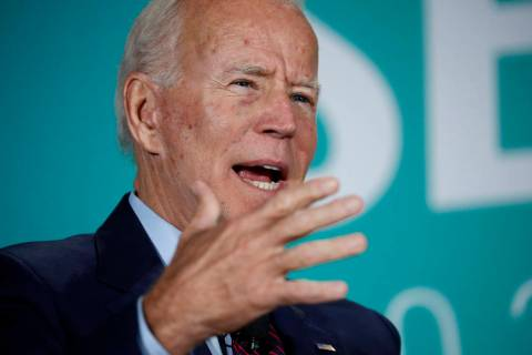 Former Vice President and Democratic presidential candidate Joe Biden speaks during a public em ...