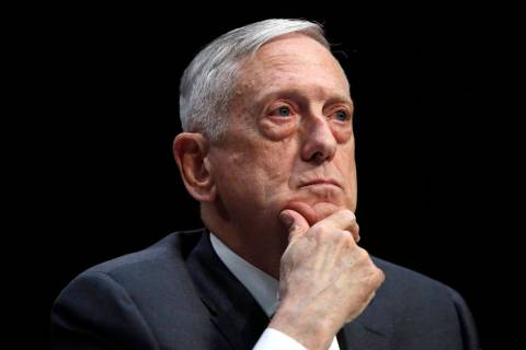 In an April 26, 2018, file photo, Defense Secretary Jim Mattis listens to a question during a h ...