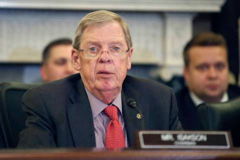 In a Sept. 26, 2018, file photo, Sen. Johnny Isakson, R-Ga., speaks during a hearing of the Sen ...