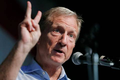 Democratic presidential candidate and businessman Tom Steyer speaks Aug. 9, 2019, at the Iowa D ...