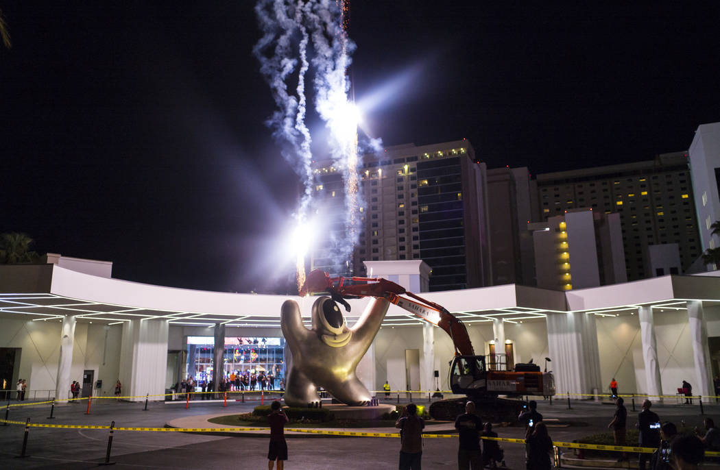 """Fireworks go off prior to the removal of the """"Sam by Starck"""" statue at the SLS Las Ve ..."""