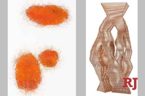 """Burning Coals 2,"" left, and ""Reaping the Whirlwind 6"" by David Baird"