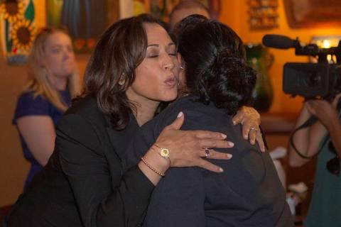 Democratic presidential candidate Sen. Kamala Harris, D-Calif., hugs Angelica Cervantes, 49, fr ...