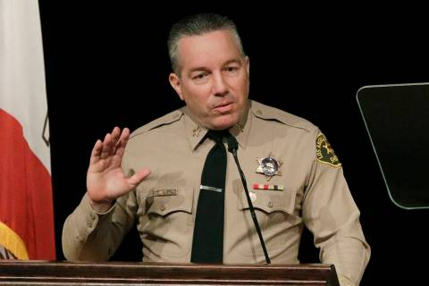 FILE - In this Dec. 3, 2018 file photo newly elected Los Angeles County Sheriff Alex Villanueva ...