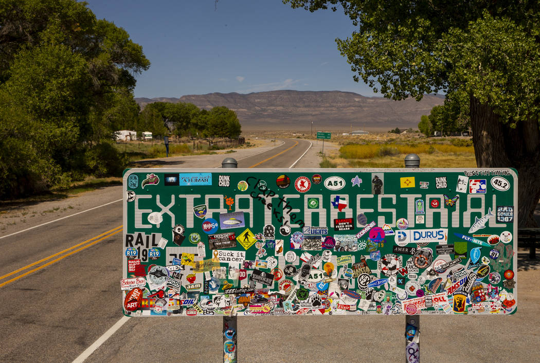 A sign noting the Extraterrestrial Highway/state Route 375 will be heavily traveled around Hiko ...