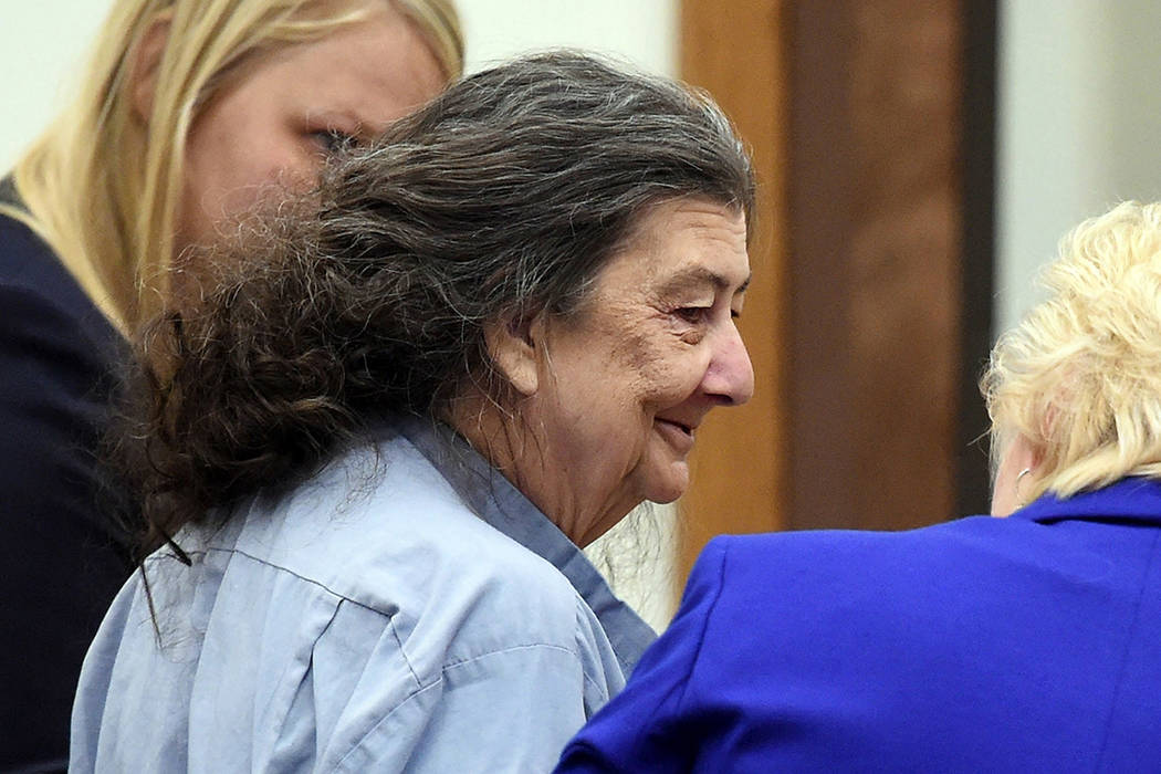 In this Sept. 8, 2014, file photo, Cathy Woods appears in Washoe District court in Reno. (Andy ...