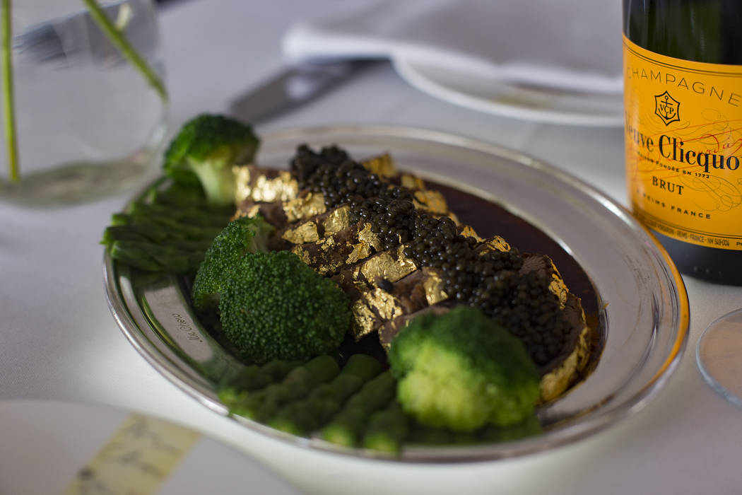 The Gold Encrusted Filet Mignon at Mr. Chow at Ceasars Palace hotel-casino in Las Vegas, Wednes ...