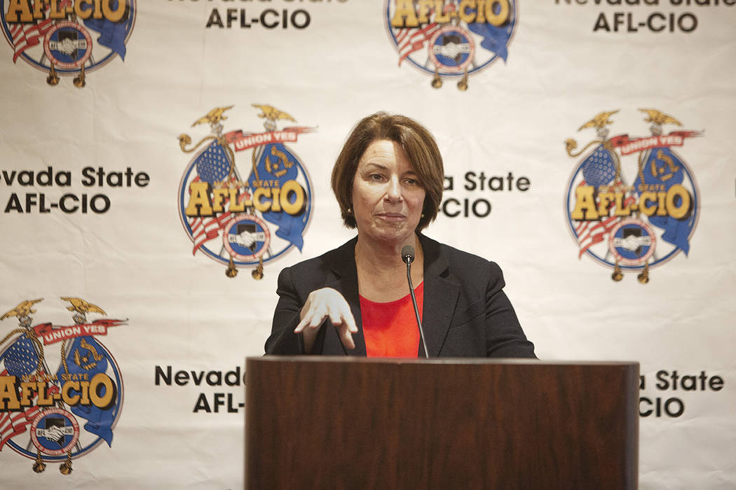 Democratic presidential candidate Sen. Amy Klobuchar, D-Minn.,speaks during AFL-CIO conve ...