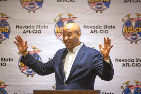 Democratic presidential candidate Sen. Cory Booker, D-N.J., speaks during AFL-CIO convention at ...