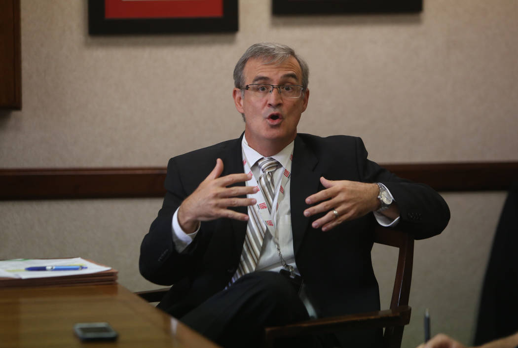 CCSD Chief Financial Officer Jason A. Goudie discusses the possibility of a teacher strike at R ...