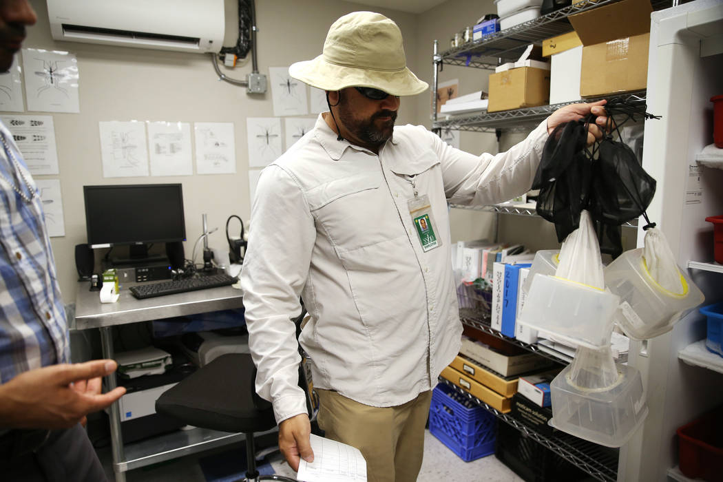 Ignacio Leycegui, an environmental health specialist for the Southern Nevada Health District, s ...