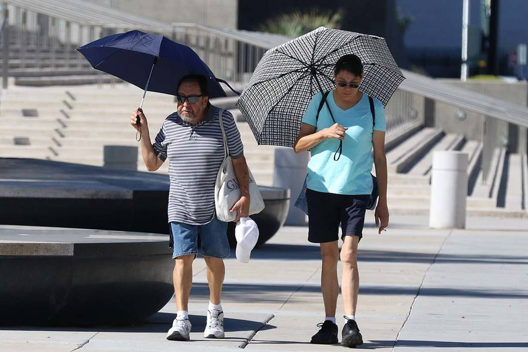 Umbrellas will be one method of limiting direct exposure to the sun as an excessive heat warnin ...