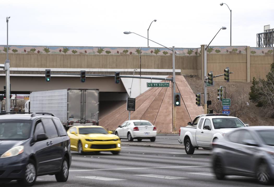 Traffic moves beneath U.S. Highway 95 along Eastern Avenue in Las Vegas on Friday, Feb. 17, 201 ...