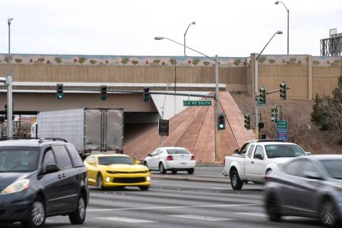 Traffic moves beneath U.S. Highway 95 along Eastern Avenue in Las Vegas on Friday, Feb. 17, 201 ...