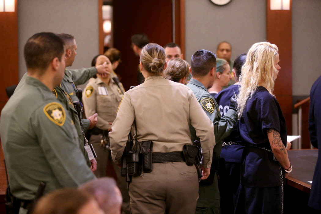 "Korey Hooper, from right, Norma Snyder and Dorothy ""Dot"" Mitchell appear in court at ..."