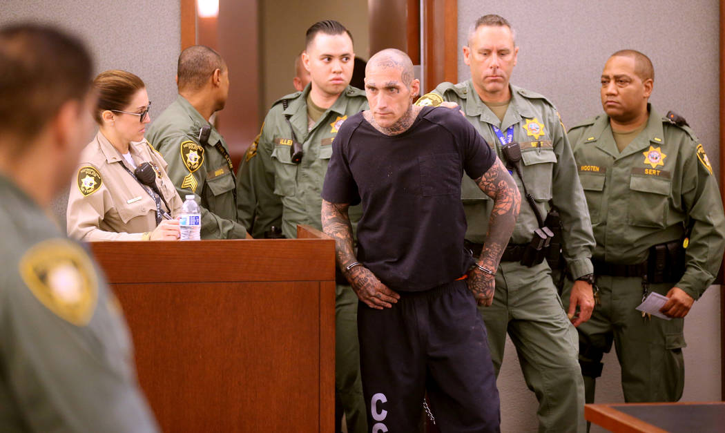 Richard Manning appears in court at the Regional Justice Center in Las Vegas for their initial ...