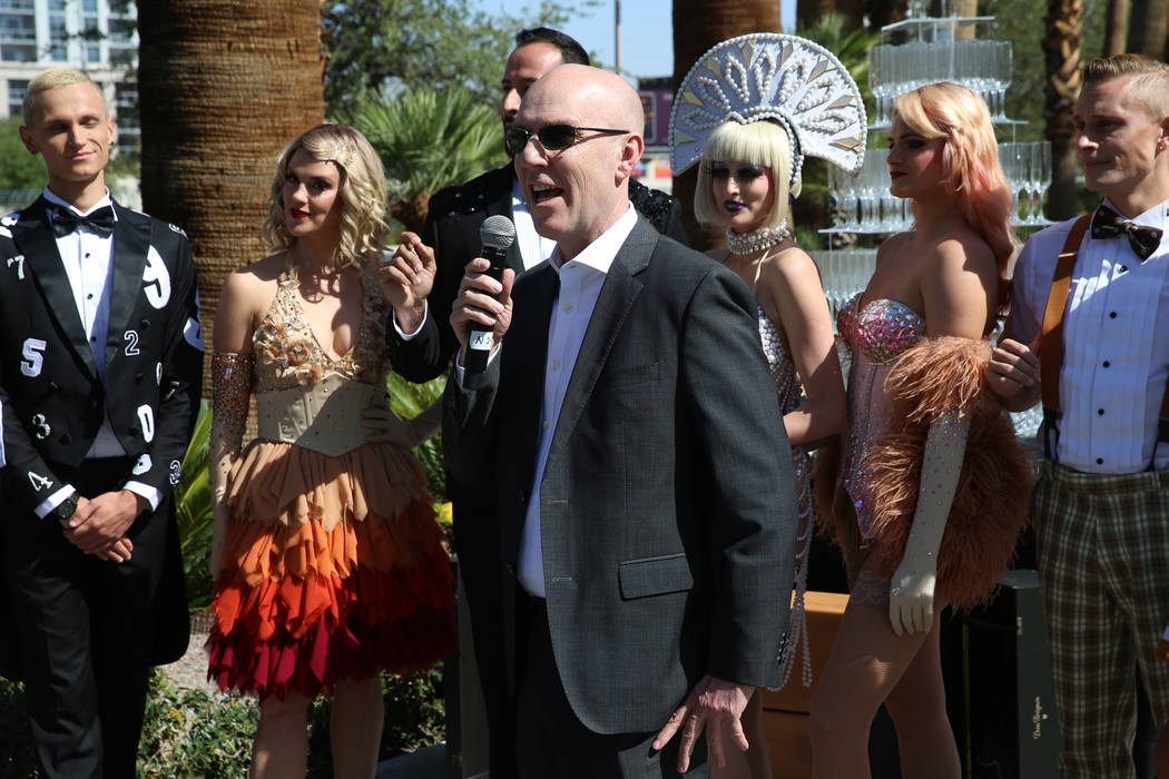 Paul Hobson, center, general manager for the Sahara Las Vegas hotel-casino, speaks during a reb ...