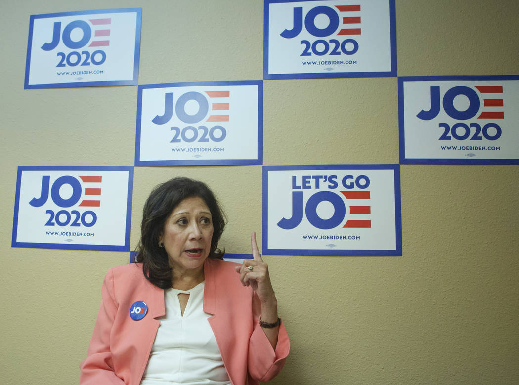 Former Labor Secretary Hilda Solis gives an interview at the Joe Biden presidential campaign of ...