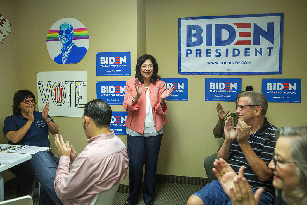 Former Labor Secretary Hilda Solis cheers with Joe Biden supporters and staffers at the Biden p ...