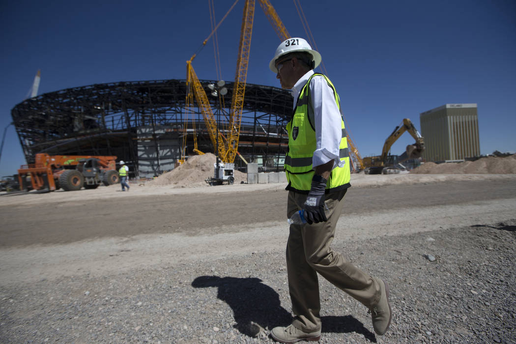 Don Webb, chief operating officer of the LV Stadium Co., gives a tour of the Raiders Allegiant ...