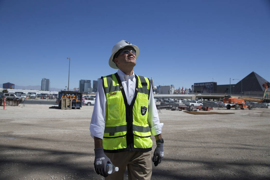 Don Webb, chief operating officer of the LV Stadium Co., looks up at the Raiders Allegiant stad ...