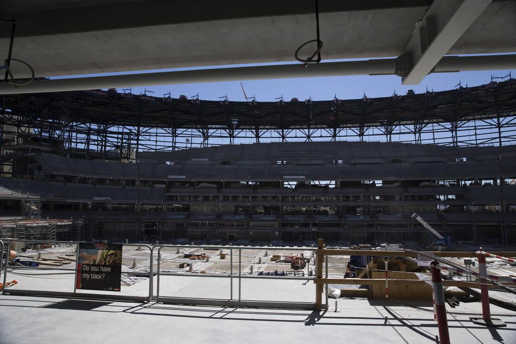 The Raiders Allegiant Stadium construction site in Las Vegas, Wednesday, Aug. 28, 2019. (Erik V ...