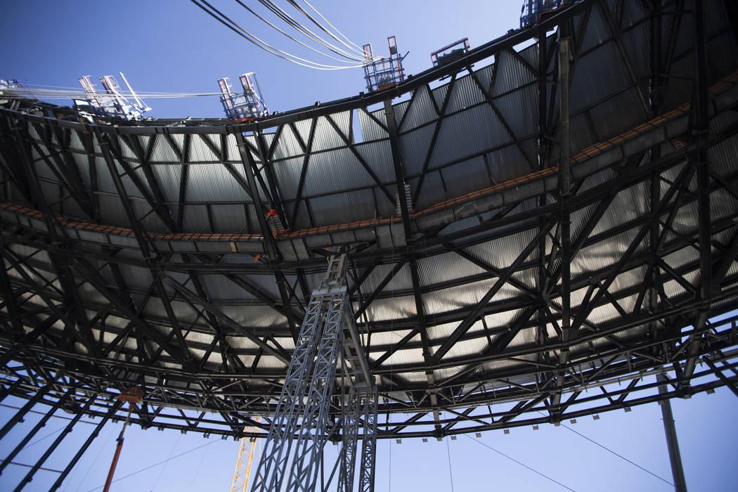 The roof under construction at Raiders Allegiant Stadium construction site in Las Vegas, Wednes ...
