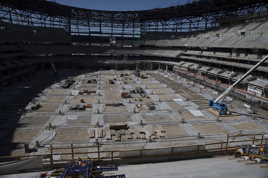 Construction at Raiders Allegiant Stadium construction site in Las Vegas, Wednesday, Aug. 28, 2 ...