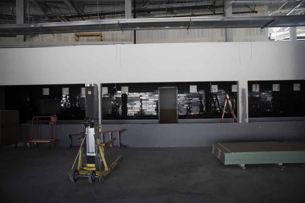 Concession stands under construction at the Raiders Allegiant Stadium construction site in Las ...