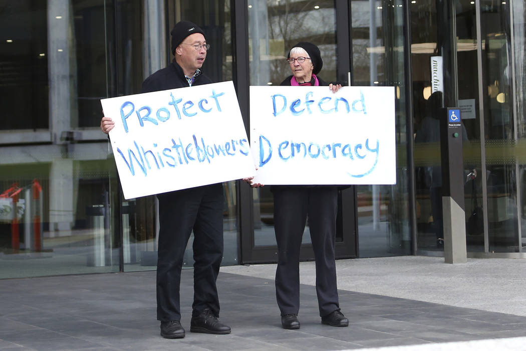Protesters demonstrate in support of whistleblowers outside the Austral Capital Territory Magis ...
