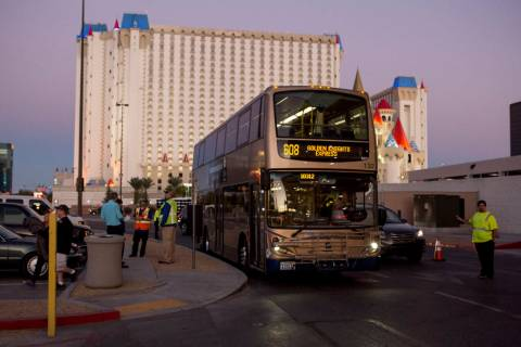An express buss arrives at T-Mobile Arena in Las Vegas for the Vegas Golden Knights game on Tue ...
