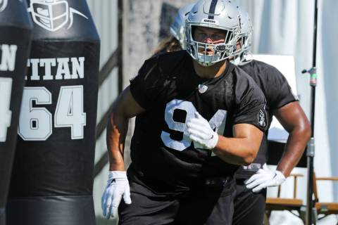 Oakland Raiders defensive tackle Eddie Vanderdoes (94) runs through a drill during the NFL team ...