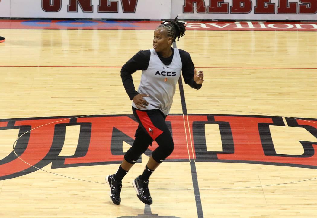 Las Vegas Aces' guard Epiphanny Prince runs the court during team practice at Cox Pavillion o ...