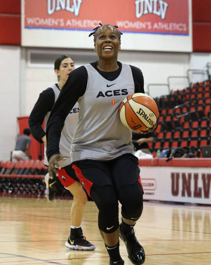 Las Vegas Aces' guard Epiphanny Prince drives to the basket during team practice at Cox Pavilli ...