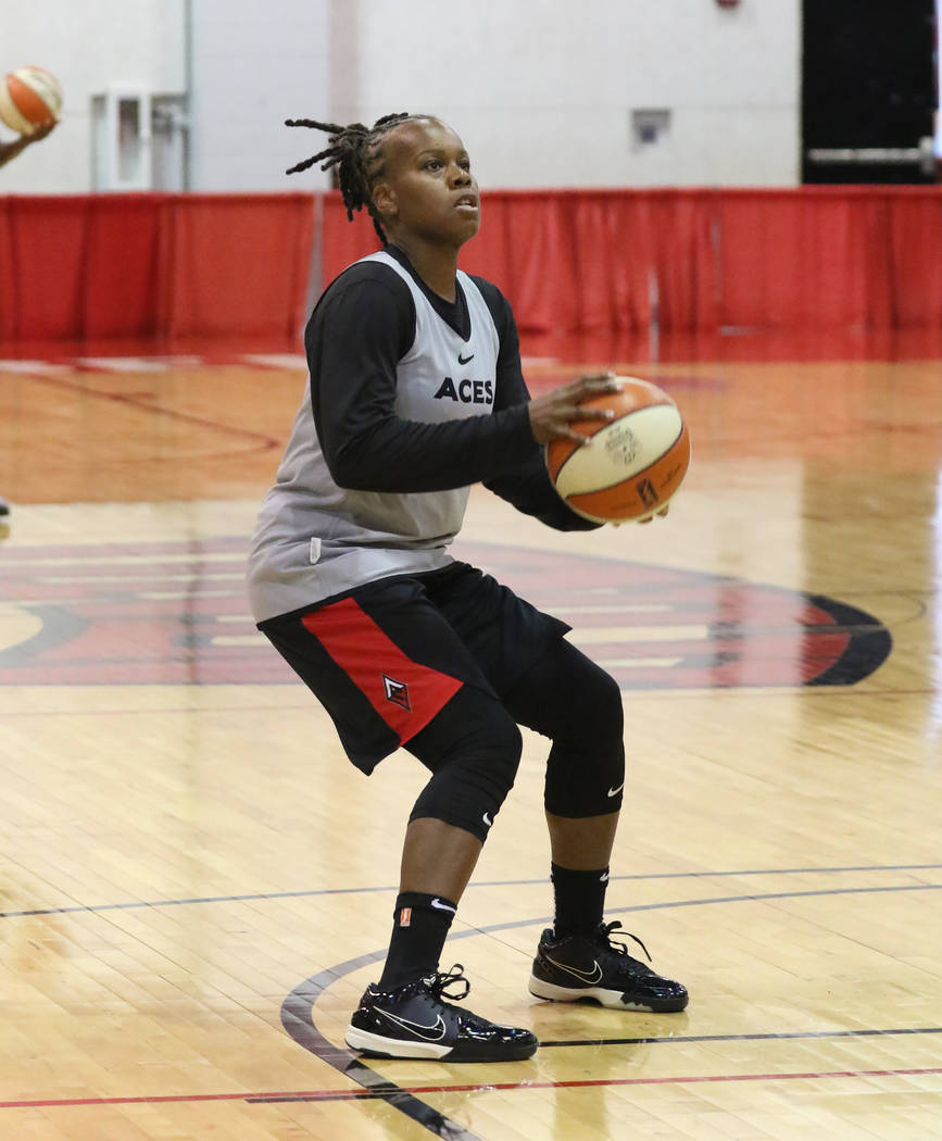 Las Vegas Aces' guard Epiphanny Prince prepares to shoot the ball during team practice at Cox P ...