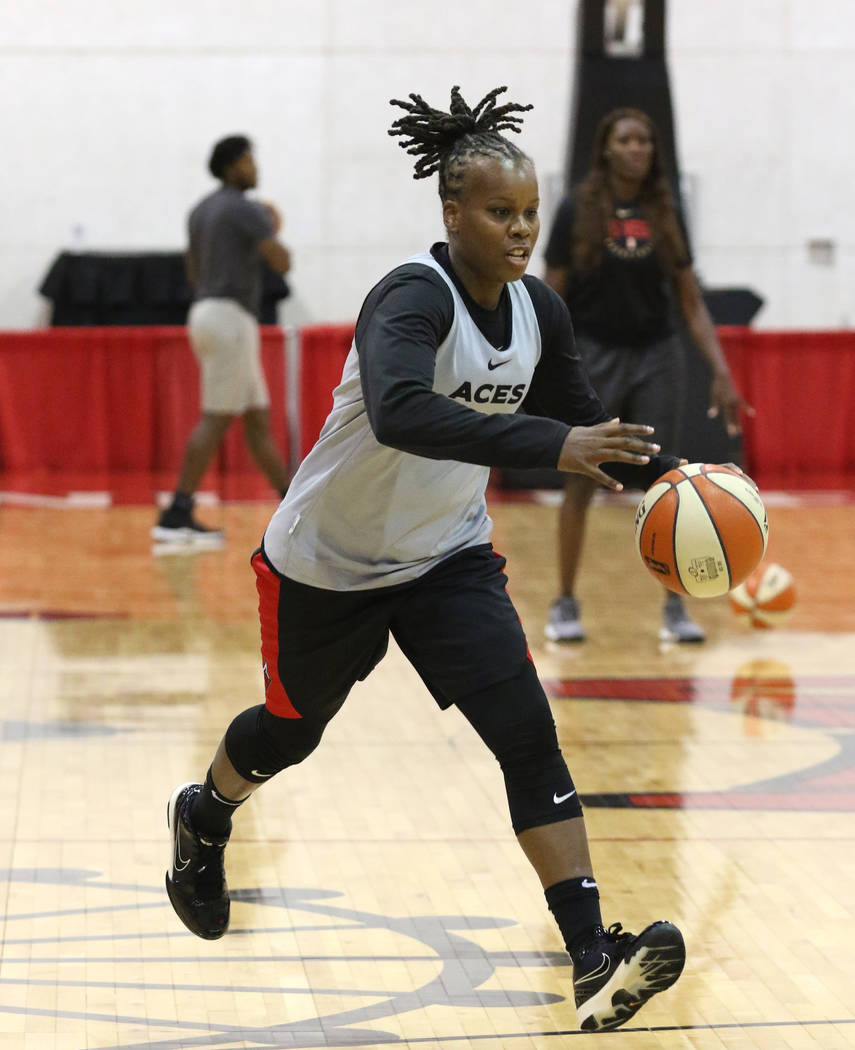 Las Vegas Aces' guard Epiphanny Prince drives the ball during team practice at Cox Pavillion o ...