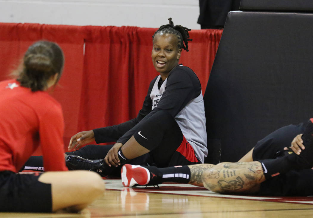 Las Vegas Aces' guard Epiphanny Prince stretches during team practice at Cox Pavillion on Frid ...