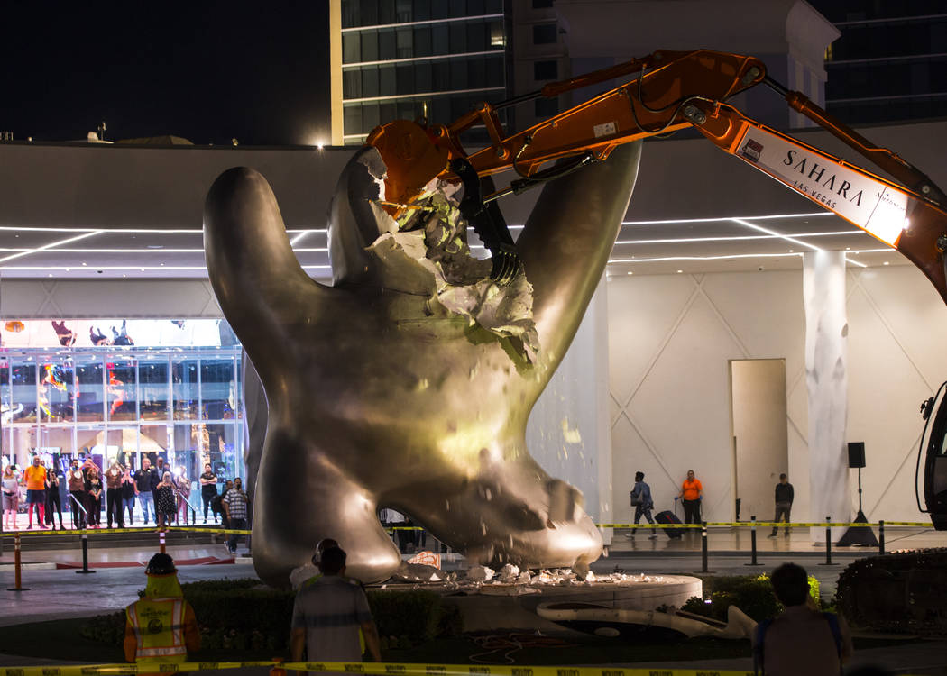 """The """"Sam by Starck"""" statue at the SLS Las Vegas is demolished ahead of the resort's t ..."""