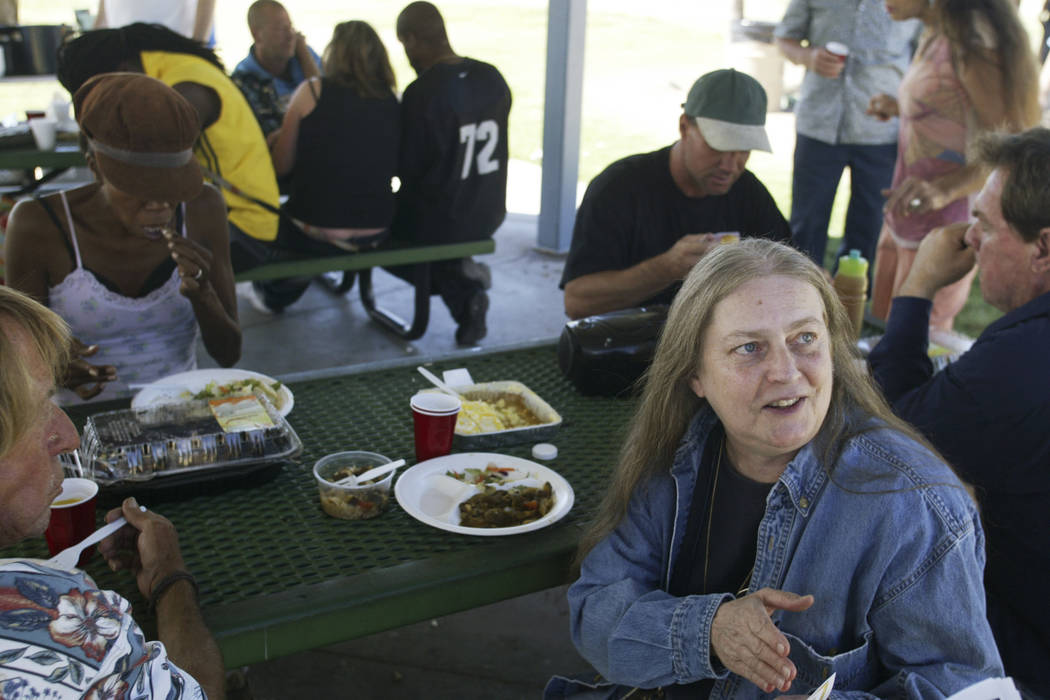 Homeless advocate Gail Sacco visits Baker Park near St. Louis Avenue and Maryland Parkway in 20 ...