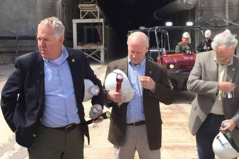 U.S. Rep. John Shimkus, R-Ill., left, visited Yucca Mountain in April 2015. (Arnold M. Knightly ...